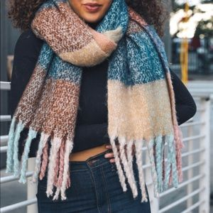 Accessories - Soft blue and green tassel scarf